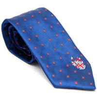 Polyester tie with single College crest - blue