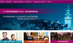 Homepage of Veterinary Evidence Today 2016 website