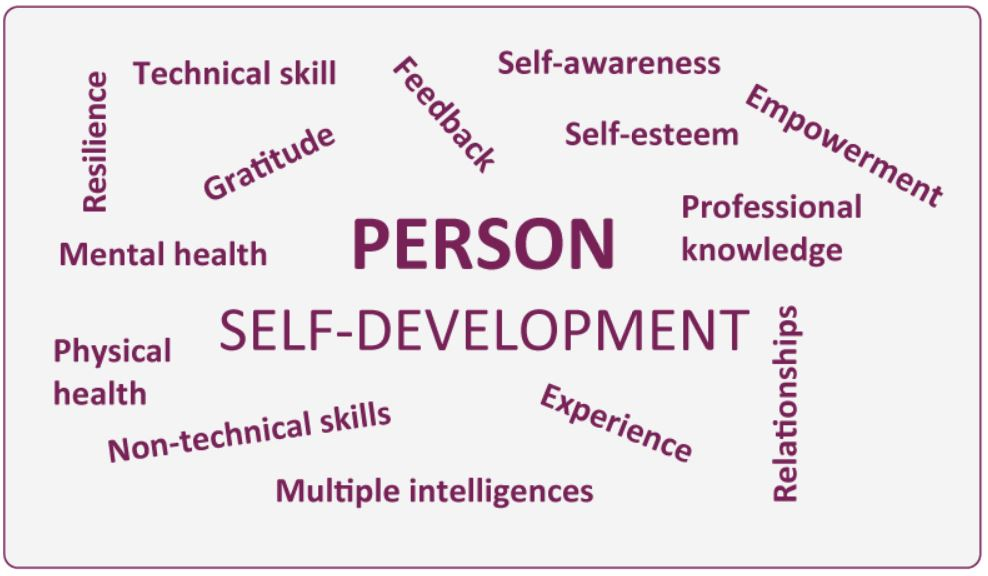 The Person, a word cloud representation of examples of the individual factors affecting a person at work.  Self-development is at the core3