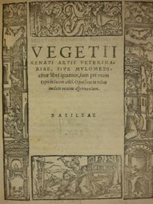 Vegetius Renatus Artis veterinariae