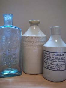 Photograph of collection of veterinary bottles