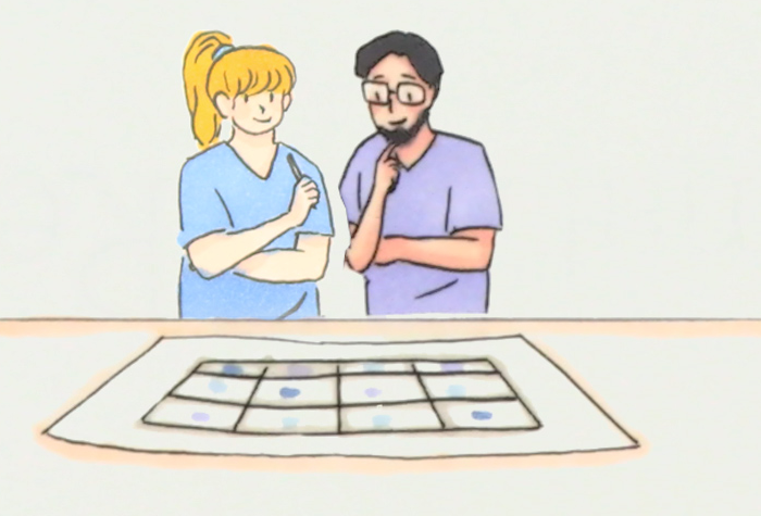 Drawing of a vet and nurse looking over records
