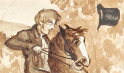 Ink drawing of man on horse